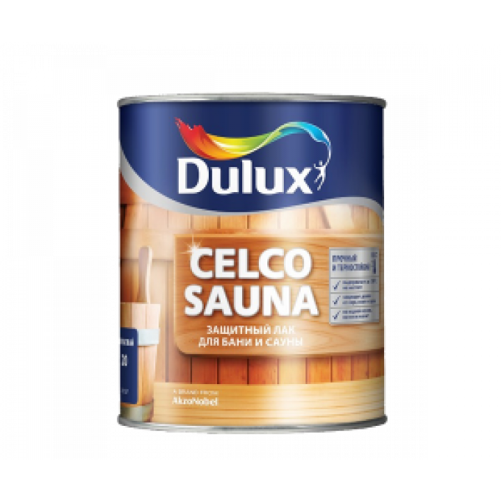 Лак Dulux CELCO SAUNA 20 полуматовый на вод. основе 1л (5181607)