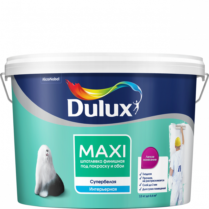 Шпатлевка финишная Dulux MAXI белая 5л (5183719)